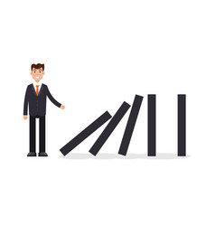 domino effect businessman pushing the domino vector image