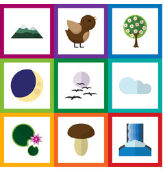 Flat icon ecology set of peak tree overcast and vector