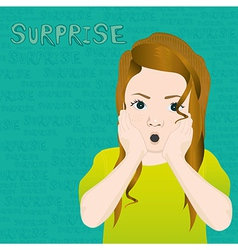 girl with an expression of surprise on background vector image