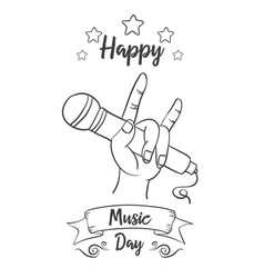 Hand draw background music day style vector