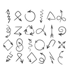 hand drawn abstract arrows set vector image