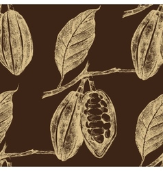 Hand drawn cocoa beans seamless vector