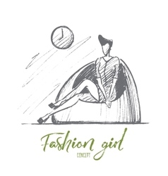 Hand drawn stylish girl in dress sitting on chair vector