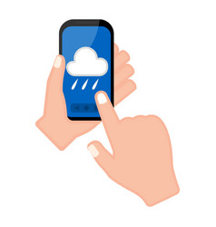 hand holding a smartphone with a forecast app vector image