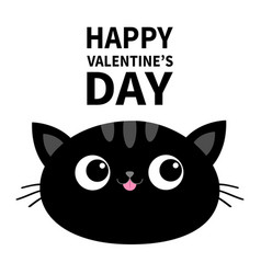 happy valentines day black cat head face oval vector image