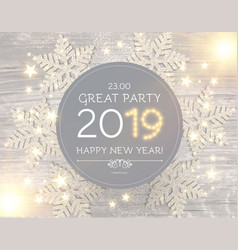hapy new 2019 year poster template with shining vector image