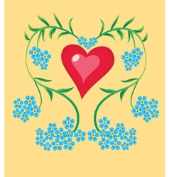 Heart forget me not vector