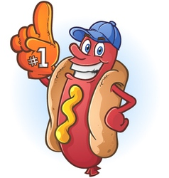 Hot Dog Sports Fan Cartoon Character vector image