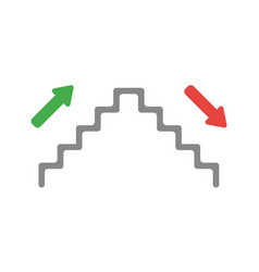 Icon concept of stairs up and down vector