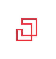 Initial alphabet j logo conceptcontinous line vector