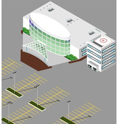 Isometric Hospital buildings vector image