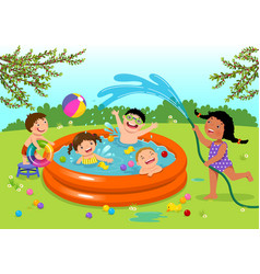 joyful kids playing in inflatable pool in the vector image
