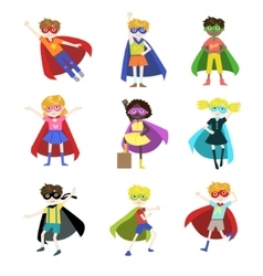 Kids Dressed as Superheroes Set vector