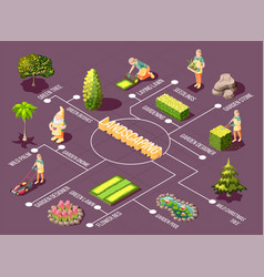 landscaping isometric flowchart vector image