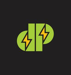 letter dp thunder shape geometric logo vector image