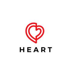 love heart logo icon vector image