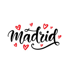 madrid spain calligraphy modern city lettering vector image