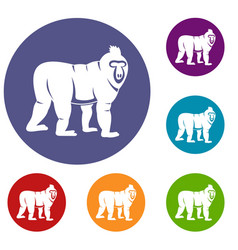 Mandrill monkey icons set vector