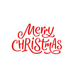 Merry christmas calligraphy text on white card vector