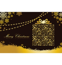 Merry Christmas gold gift box shape vector image