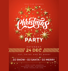 Merry christmas party red poster 24 december vector