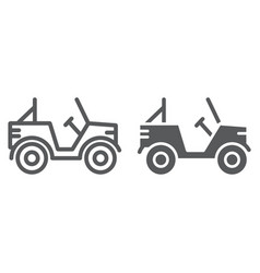 military vehicle line and glyph icon transport vector image