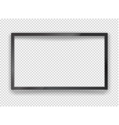 Modern black tv frame with blank screen mockup vector