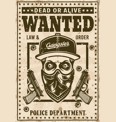 Modern gangster skull in hat wanted poster vector