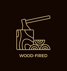 Modern line style wood-fired logotype template vector