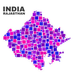 mosaic rajasthan state map of square elements vector image