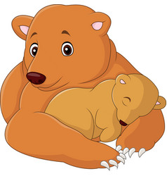 mother and baby bear cartoon vector image