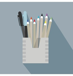 Pencil holder case icon with long shadow on blue vector
