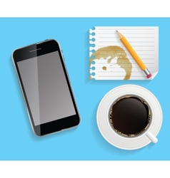 Phone coffee and stationery on desk vector