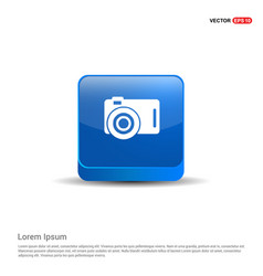 photo camera icon - 3d blue button vector image