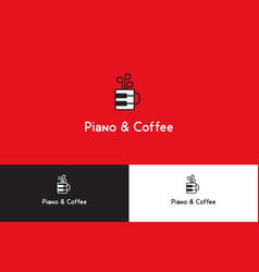 Piano and coffee logo vector