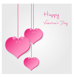 Pink valentine hearths from paper hanging vector