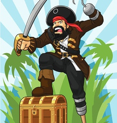Pirate with His Treasure Chest vector