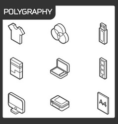 Polygraphy outline isometric icons vector