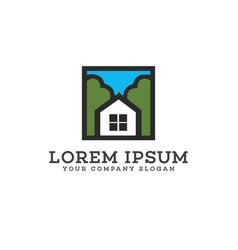 real estate logo design concept template vector image