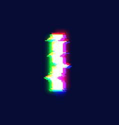 realistic glitch font character i vector image