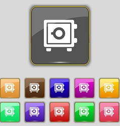 Safe icon sign Set with eleven colored buttons for vector