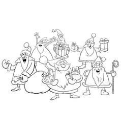 santa group coloring page vector image