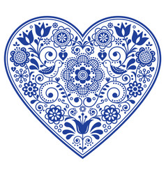 Scandinavian folk heart design valentines vector