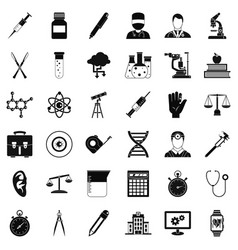 science icons set simple style vector image