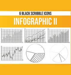 scribble black icon set infographic ii vector image