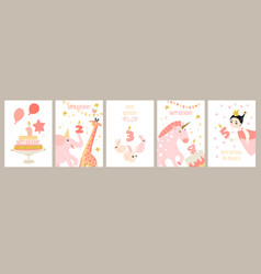 set birthday cards for girls vector image