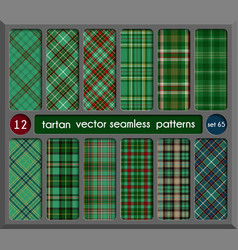 Set in green tartan seamless pattern background vector