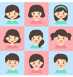 Set of Kids Face Avatar Turquoise Pink vector