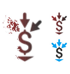 Shredded pixel halftone integrate payment icon vector