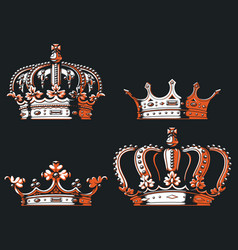 Silhouette vintage king queen prince crown vector